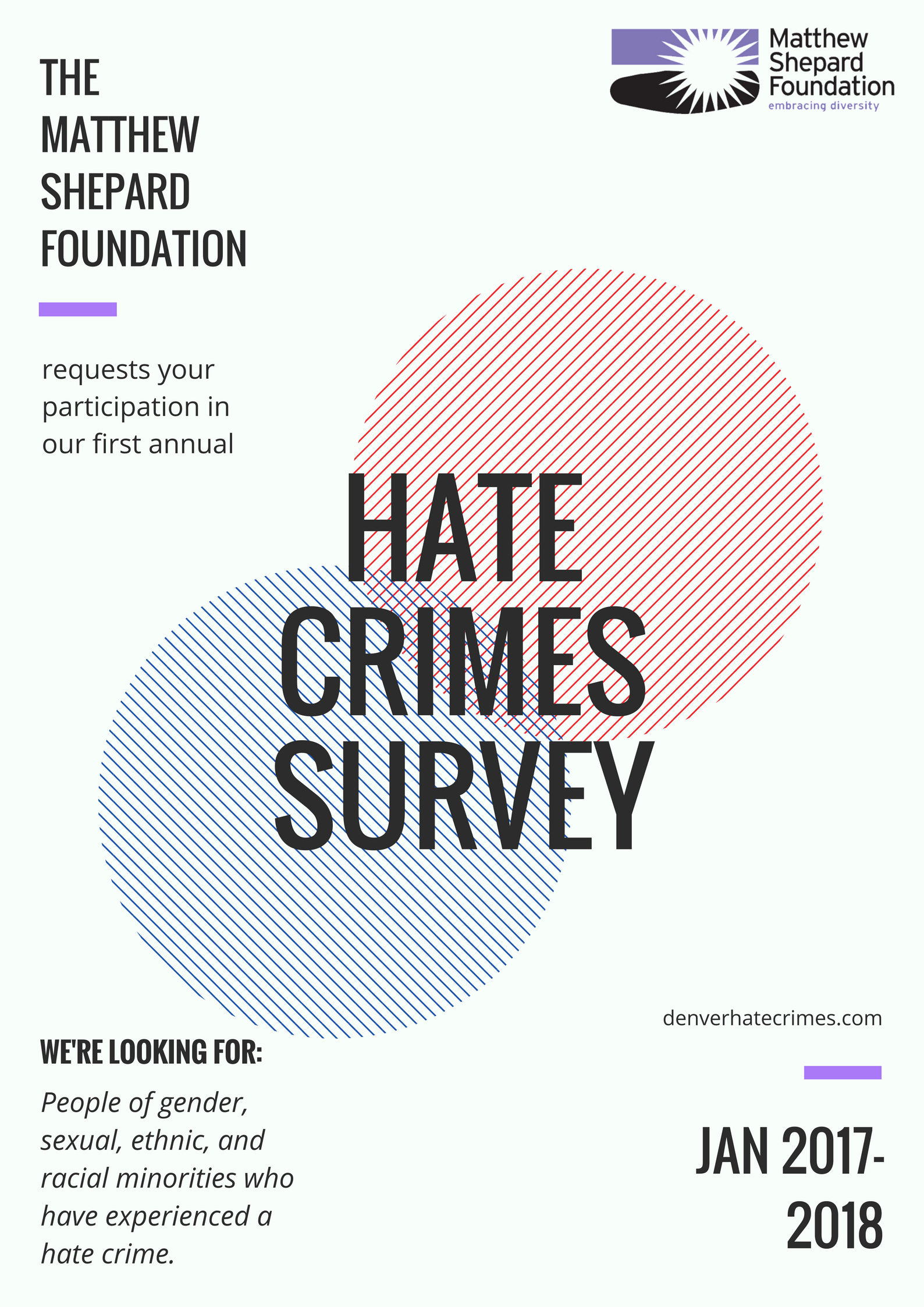 FOR IMMEDIATE RELEASE: MATTHEW SHEPARD FOUNDATION LAUNCHES HATE CRIME SURVEY
